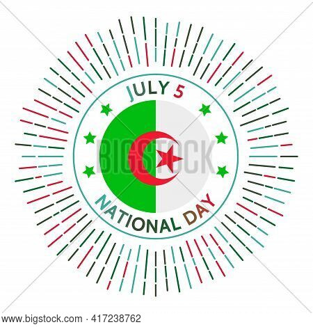 Algeria National Day Badge. Independence From France In 1962. Celebrated On July 5.