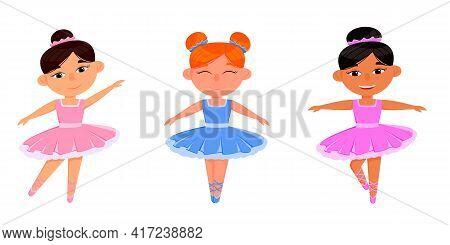 Cute Ballerina Girl Dancer Character Training Set. African American Child Wear Pink Tutu Dress And P