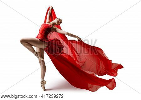 Ballerina Jumping In Pointe Shoes With Flying Red Cloth, Modern Ballet Dance, Isolated White Backgro