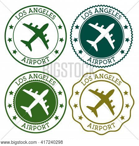 Los Angeles Airport. Los Angeles Airport Logo. Flat Stamps In Material Color Palette. Vector Illustr