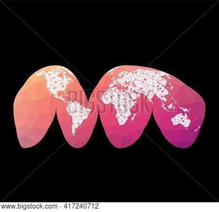 World Network Map. Goode's Interrupted Homolosine Projection. Wired Globe In Interrupted Homolosine