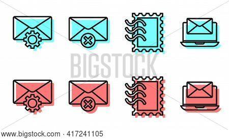 Set Line Postal Stamp, Envelope Setting, Delete Envelope And Laptop With Envelope Icon. Vector