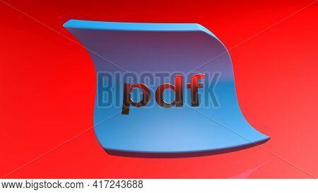 Pdf Curved Blue Tag On Red Background - 3d Rendering Illustration