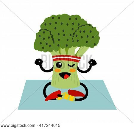 Cute Smiling Happy Broccoli Meditate In Yoga Pose. Funny Vegetable Sitting, Meditate. Concept Of Hea