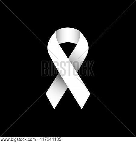 Illustration Vector Graphic Of White Ribbon Symbolizing Concern For Bone Cancer