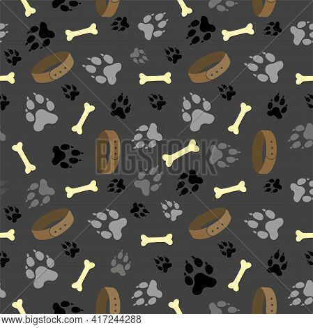 Dog Paw Seamless Vector Pattern. Dog Footprint And Bones Texture. Pattern Wallpaper Background. Seam