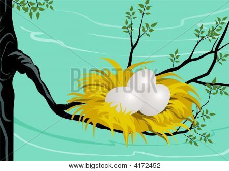 Illustration of Tree and nest with egg poster