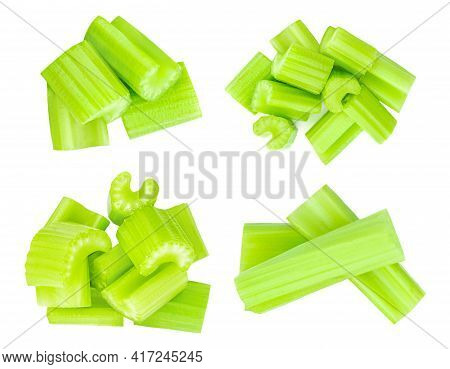 Set Of Celery Sticks. Celery Isolated On White Background. Collection. Top View
