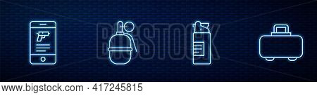 Set Line Weapons Oil Bottle, Shop Weapon In Mobile App, Hand Grenade And Case. Glowing Neon Icon On