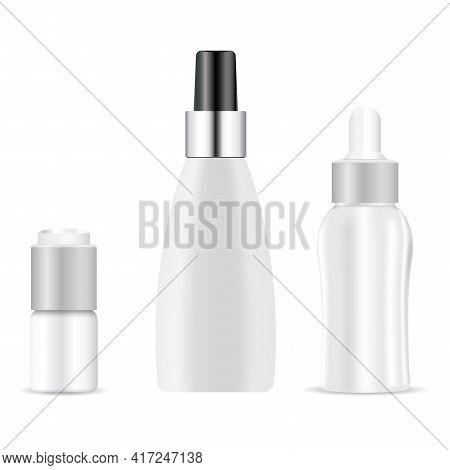 Serum Dropper Bottle. Essential Oil Container Mock Up, Natural Aroma Vial, Plastic Medicine Packagin