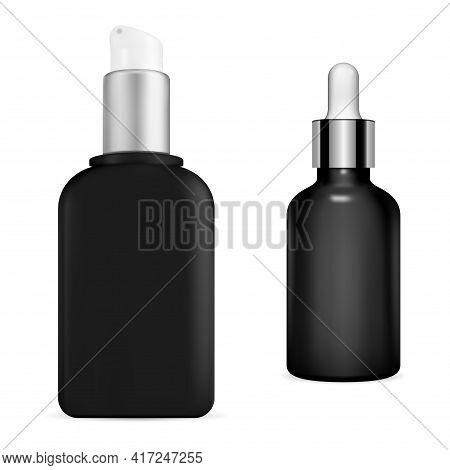 Black Serum Bottle. Cosmetic Pump Container, 3d Vector Concept. Premium Eyedropper Flask, Realistic
