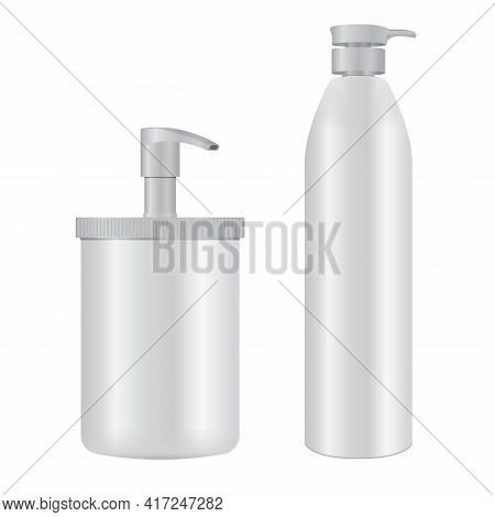 Pump Bottle. Cosmetic Dispenser Packaging, Soap, Lotion, Shampoo. Liquid Moisturizer Container. Medi