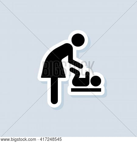 Baby Changing Facilities Sticker. Toilet Room For Mothers With Kids. Mother And Child Icon. Baby Cha