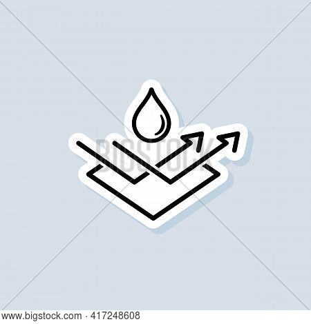 Water Repellent Surface Sticker. Waterproof Icon, Hydrophobic Symbol. Vector On Isolated Background.