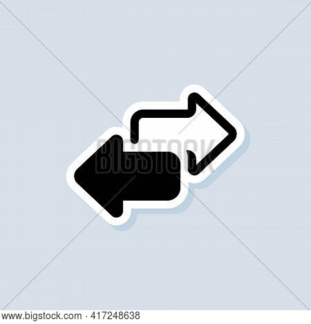 Exchange Sticker. Double Reverse Arrow, Replace Icon. Direction Arrows For Transfer, Sync, Migration