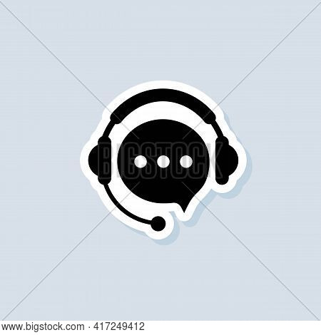 Support Service Sticker. Tech Support Icon. Call Center Service. Support Assistant. Operator. Vector
