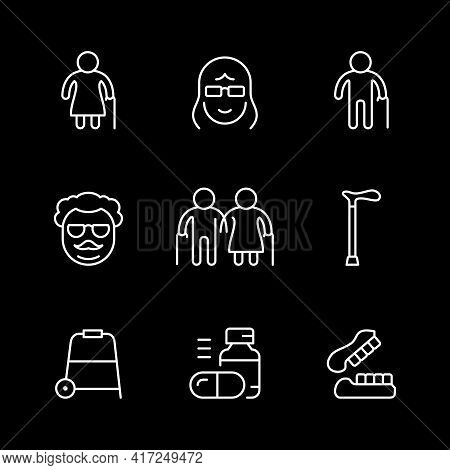 Set Line Icons Of Older People Isolated On Black