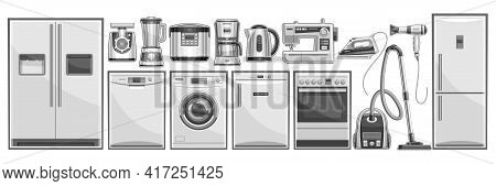 Vector Set Of Home Appliances, Lot Collection Of Cut Out Illustrations Household And Kitchen Applian