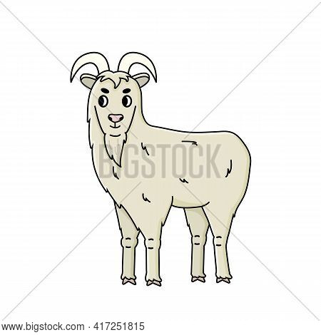 Сute Vector Doodle Fluffy Cartoon Farm Goat Male Buck With Long Beard Stands Sideways And Looks To T