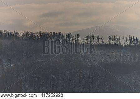 Ilsko Mountain In Beskidy, Poland. View From Zar Mountain (pol. Góra Żar)