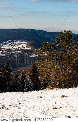 Hrobacza Meadow (pol. Hrobacza Łąka) And Miedzybrodzie Bialskie In Wintertime Taken From Zar Mountai