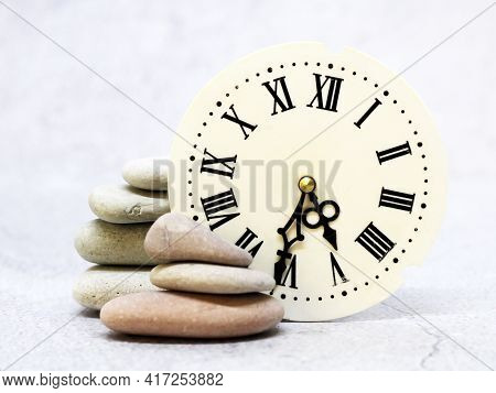 Clocks With Roman Numerals And Sea Stones, Vintage