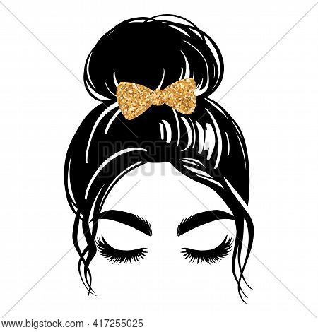 Messy Bun With Golden Glitter Hair Bow. Vector Woman Silhouette. Beautiful Girl Drawing Illustration
