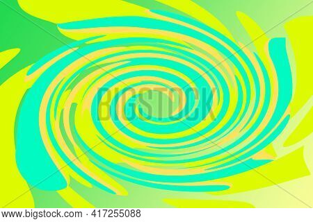 Tropical Flower Swirl Abstract Shape Overlay Green Yellow Gradient Cutout Illustration