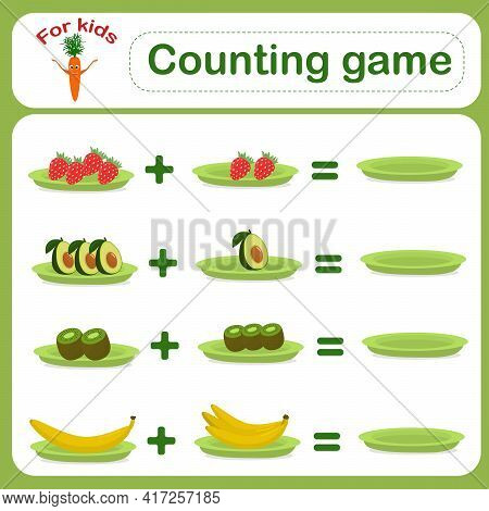 Educational Vector Illustration. Counting Game For Preschool Children. Educational Math Game. Count