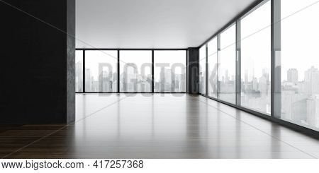 Modern Sunny Loft Big Office Building Interior With Wooden Floor And Big Windows With Day Light And