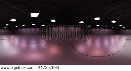 360 Spherical Panorama View Of Empty Modern Futuristic Room With Neon Lights 3d Render Illustration