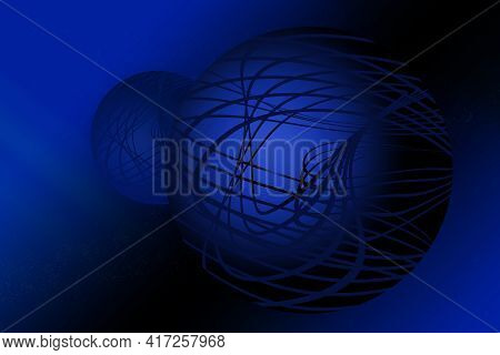 Blue Orb Sphere Outer Shape Planet Globes With Curved Geometric Overlay With Gradient Universe Backg