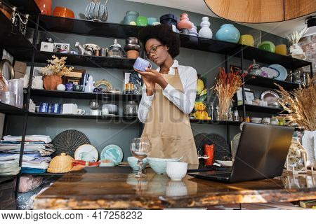Experienced African Saleswoman Doing Inventory At Modern Store With Various Decor. Young Lady In Eye