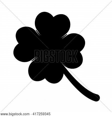 Four Leaf Clover Icon. Lucky Flower Concept Saint Patrick Day Black Symbol Isolated On White Backgro
