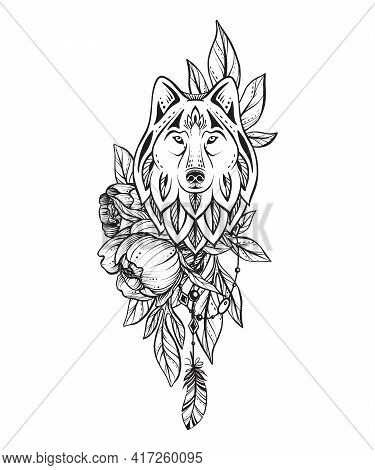 Vector Illustration Of Black And White Wolf, Peony Flower, Feather Isolated On White Background