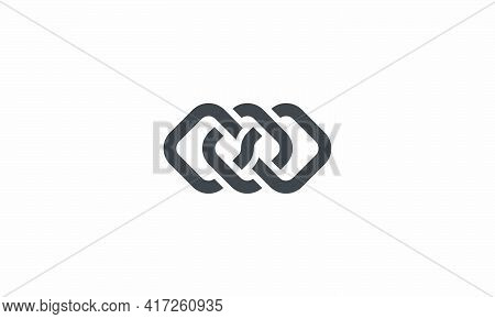 Three Square Bind Each Other Vector Illustration On White Background. Creative Icon.