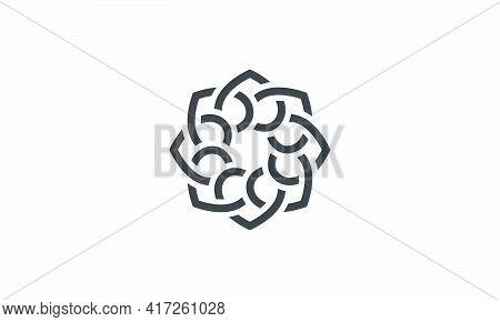Interlocking Mandala Vector Illustration On White Background. Creative Icon.