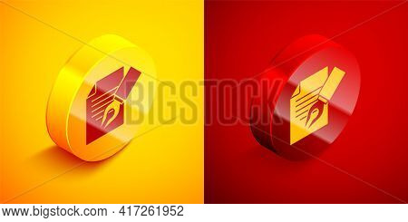 Isometric Exam Sheet And Pencil With Eraser Icon Isolated On Orange And Red Background. Test Paper,