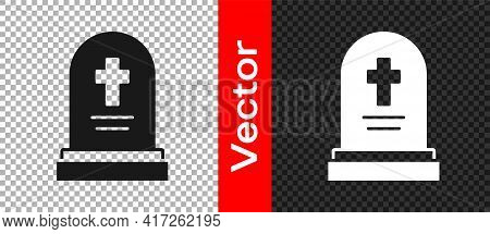 Black Grave With Tombstone Icon Isolated On Transparent Background. Vector