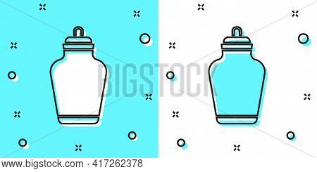 Black Line Funeral Urn Icon Isolated On Green And White Background. Cremation And Burial Containers,