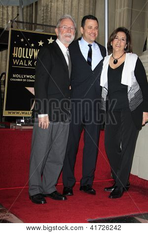 LOS ANGELES -JAN 25:  Jimmy Kimmel, parents at the Hollywood Walk of Fame ceremony for Jimmy Kimmel at Hollywood Boulevard, near Highland on January 25, 2013 in Los Angeles, CA.