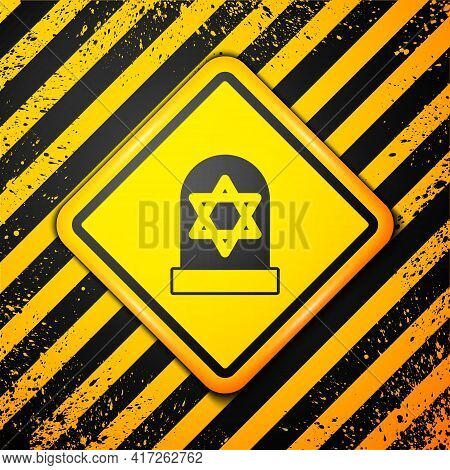 Black Tombstone With Star Of David Icon Isolated On Yellow Background. Jewish Grave Stone. Graveston