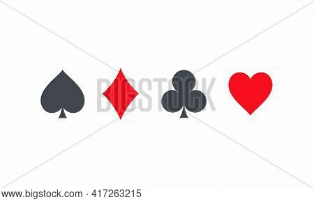 Playing Card Spades Diamonds Clubs Hearts Icon Symbol. Isolated On White Background.