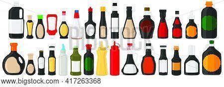 Illustration On Theme Big Kit Varied Glass Bottles Filled Liquid Soy Sauce. Bottles Consisting From