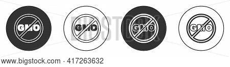 Black No Gmo Icon Isolated On White Background. Genetically Modified Organism Acronym. Dna Food Modi