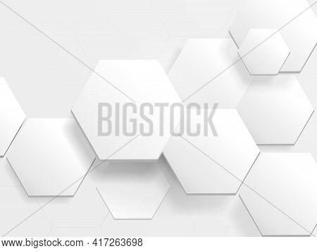 White Hexagon Technology Digital Hi Tech Concept Background. Abstract Hexagon Frame For Your Design.