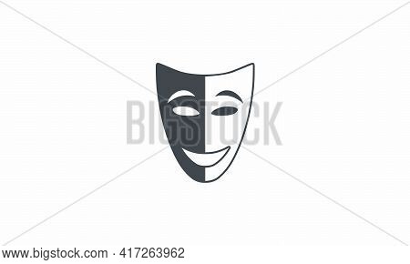 Theatrical Mask Black White Stop Racism. Racial Equality Vector Illustration.