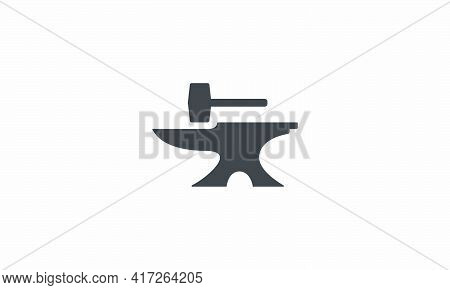 Anvil With Hammer Icon. Isolated On White Background.