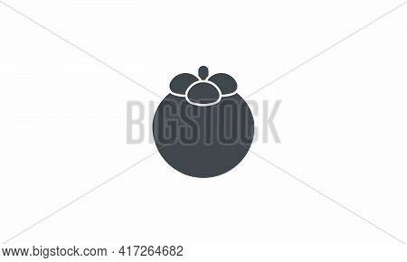 Mangosteen Icon Vector Illustration. Isolated On White Background.