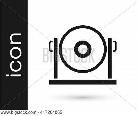 Black Gong Musical Percussion Instrument Circular Metal Disc Icon Isolated On White Background. Vect